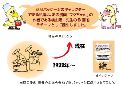 商品パッケージのキャラクターはあの漫画「フクちゃん」で有名な横山隆一先生の作画をモチーフとして誕生しました!